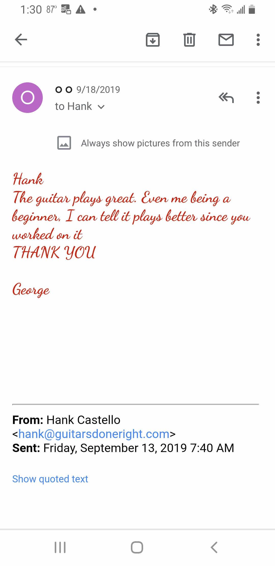 Largo Guitar service testimonials